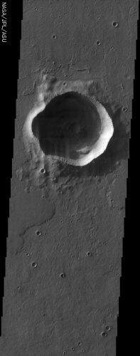 Impact Crater  This martian impact crater was imaged by Mars Odyssey's THEMIS instrument.  NASA / ASU THEMIS Science Team  The irregularly shaped rim of this bowl shaped impact crater is most likely due to erosion and the subsequent infilling of sediment.  NASA / ASU THEMIS Science Team